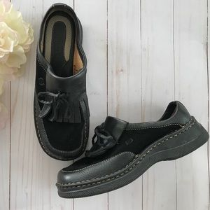 Born Black Leather Kiltie Slip On Loafer